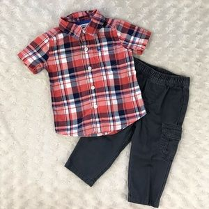 Carter's Baby Boy Outfit Plaid Shirt Gray Pants 9M